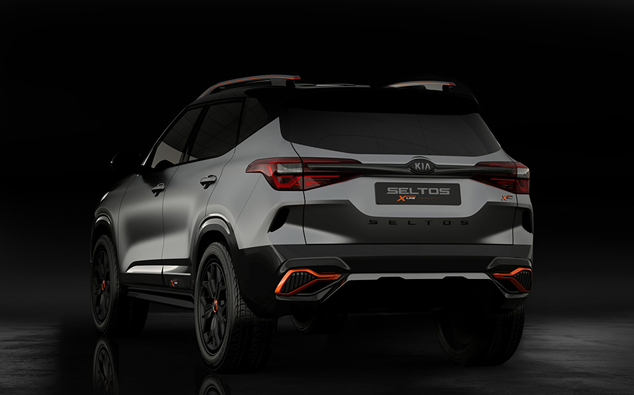 Desktop Hintergrundbilder KIA Crossover Kia Seltos X-Line Concept 2020 graue auto Hinten Softroader Grau graues Autos automobil