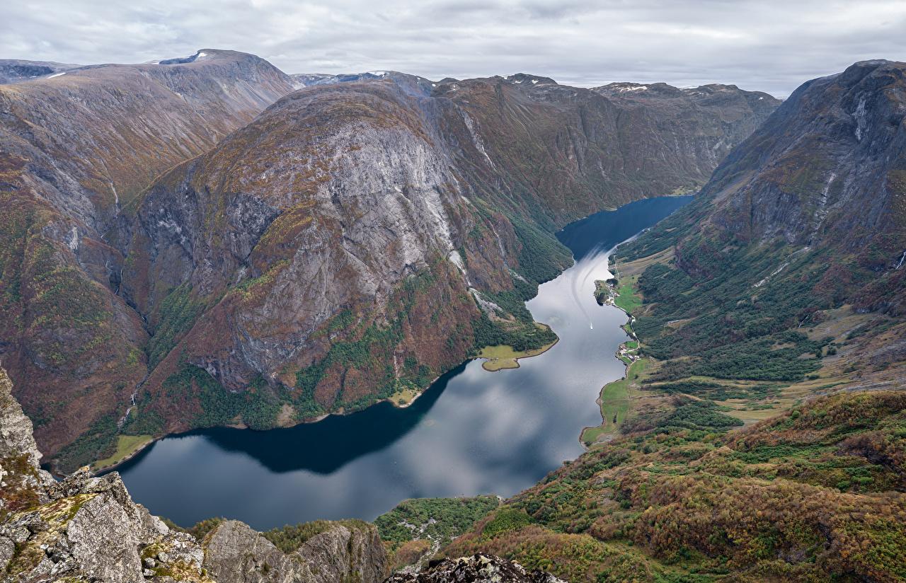Fotos von Norwegen Gudvangen Fjord Natur Gebirge Von oben Berg