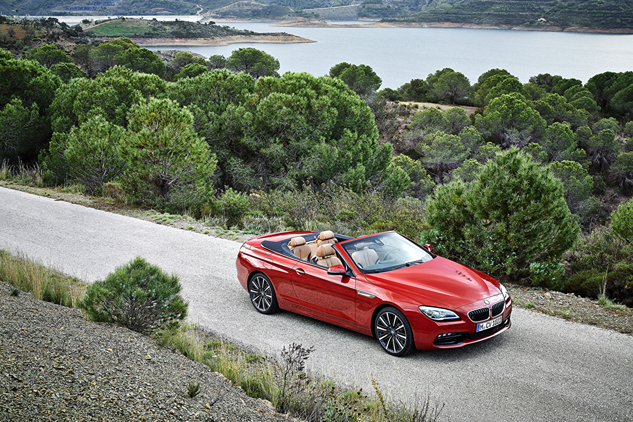 Photo BMW 2015 M6 convertible Cabriolet Red Cars Metallic Convertible auto automobile