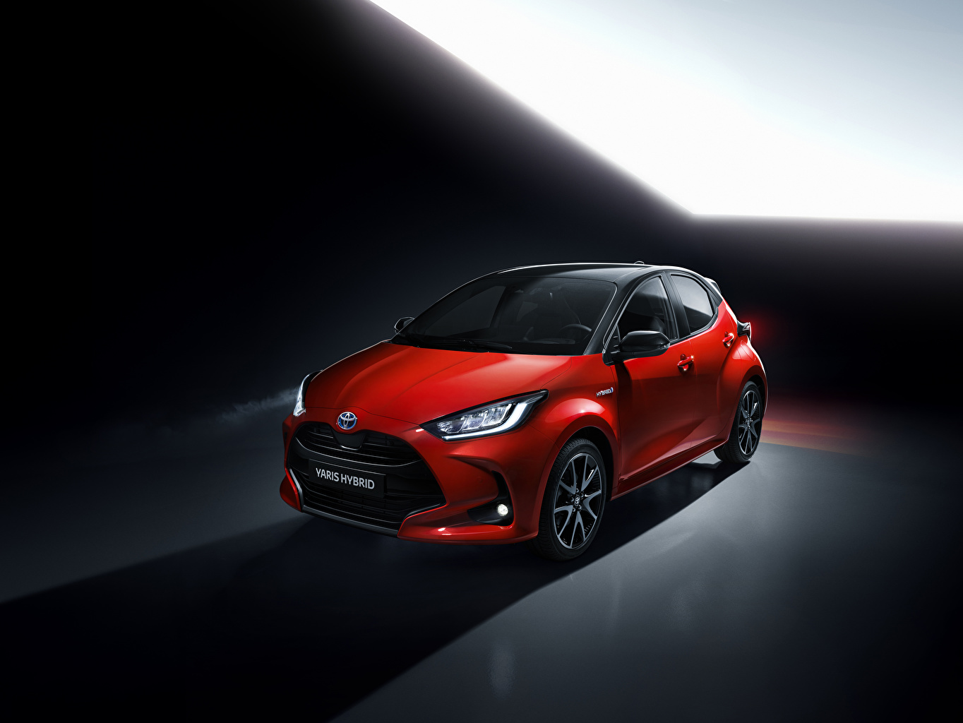 Desktop Hintergrundbilder Toyota 2020 Yaris Hybrid Worldwide Hybrid Autos Rot Autos auto automobil