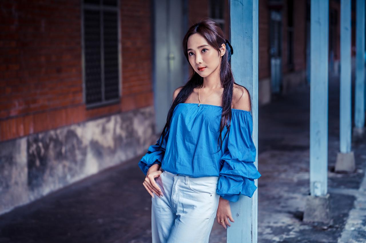 Bilder von Bokeh Pose Bluse junge frau Jeans Asiaten Starren unscharfer Hintergrund posiert Mädchens junge Frauen Asiatische asiatisches Blick