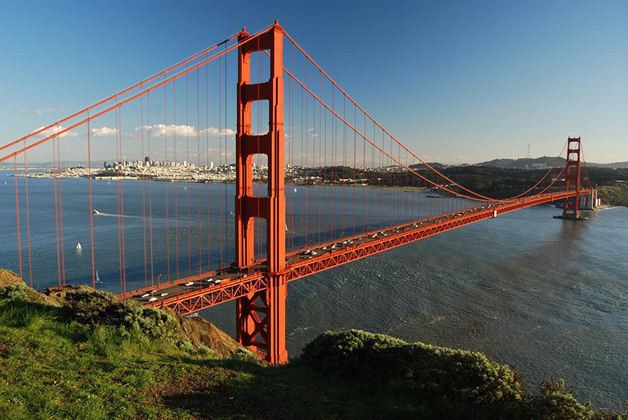 Images California San Francisco USA Golden Gate Bridge bridge Bay Grass Cities Bridges