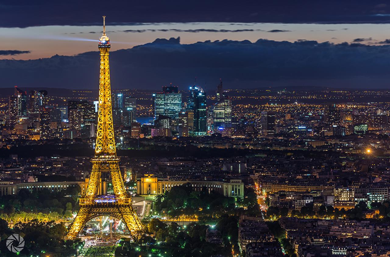 Fonds D Ecran France Tour Eiffel Nuit Paris Villes Telecharger Photo