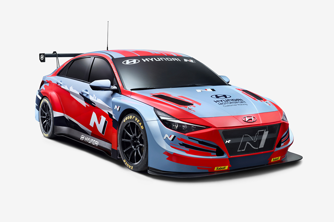 Wallpaper Tuning Hyundai Elantra N TCR (CN7), 2020 automobile Gray background Cars auto