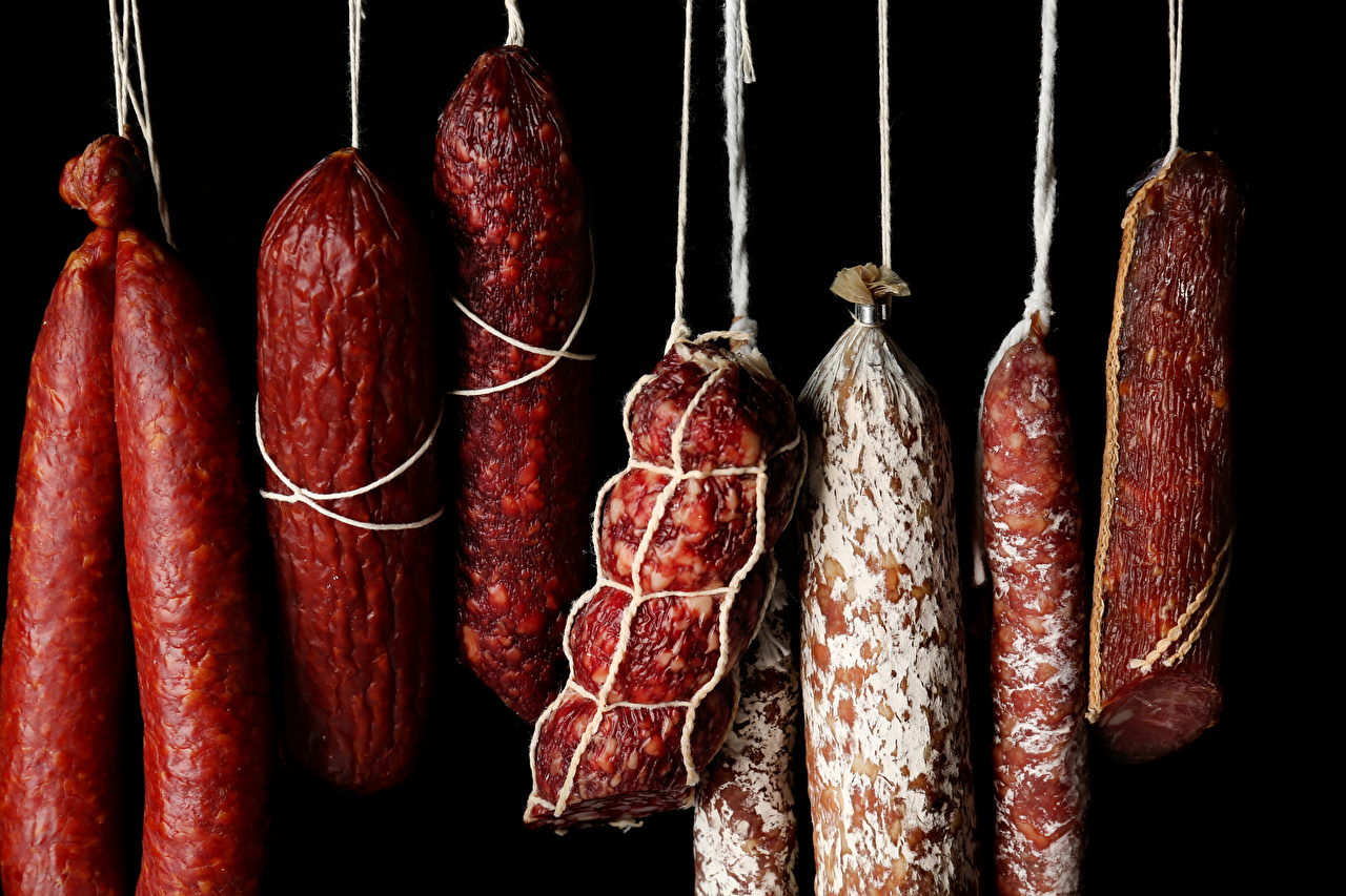 Image Sausage Food Meat products Black background