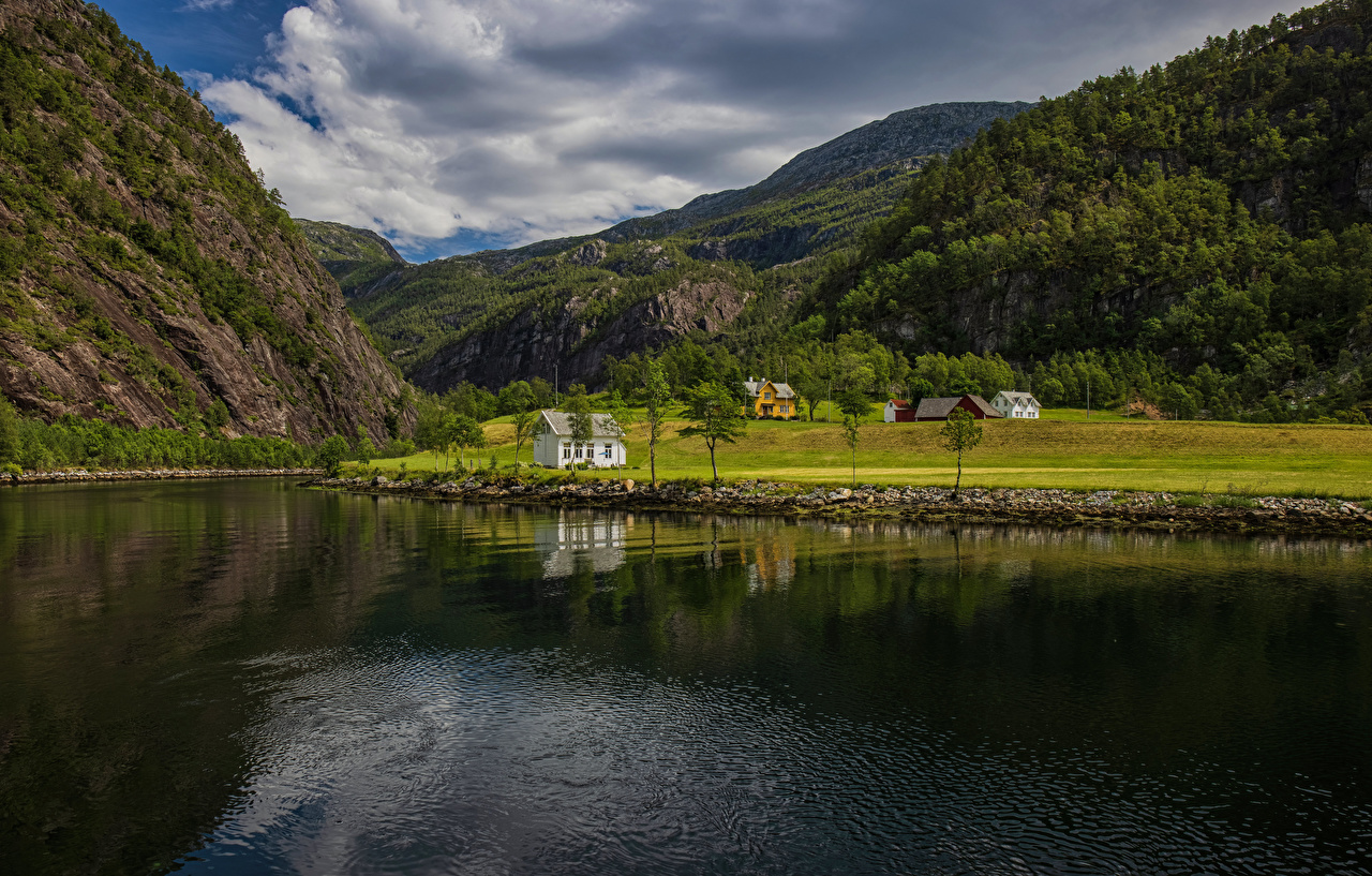 Photo Norway Mostraumen Nature Mountains Scenery river mountain landscape photography Rivers