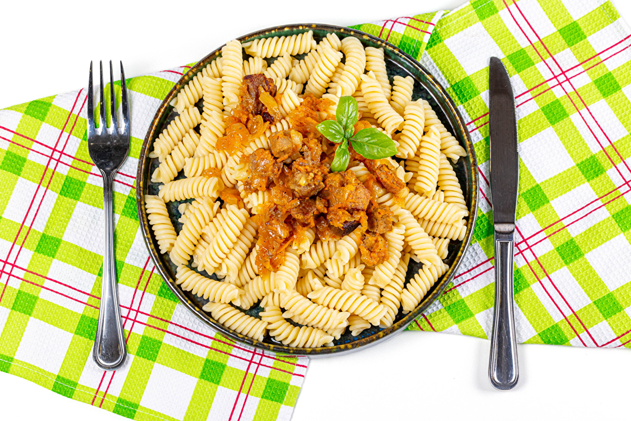 Photos Knife Pasta Fork Food The second dishes