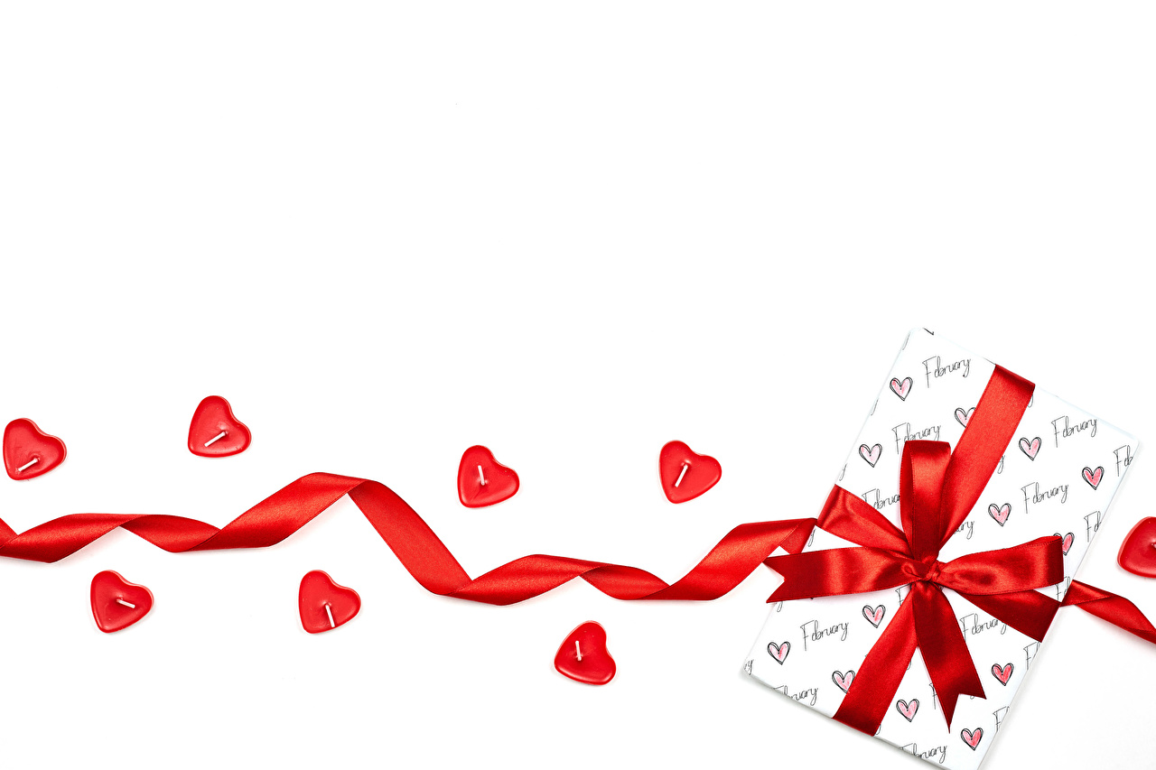Wallpaper Valentine's Day Heart present Ribbon Candles Bowknot Template greeting card White background Gifts bow knot