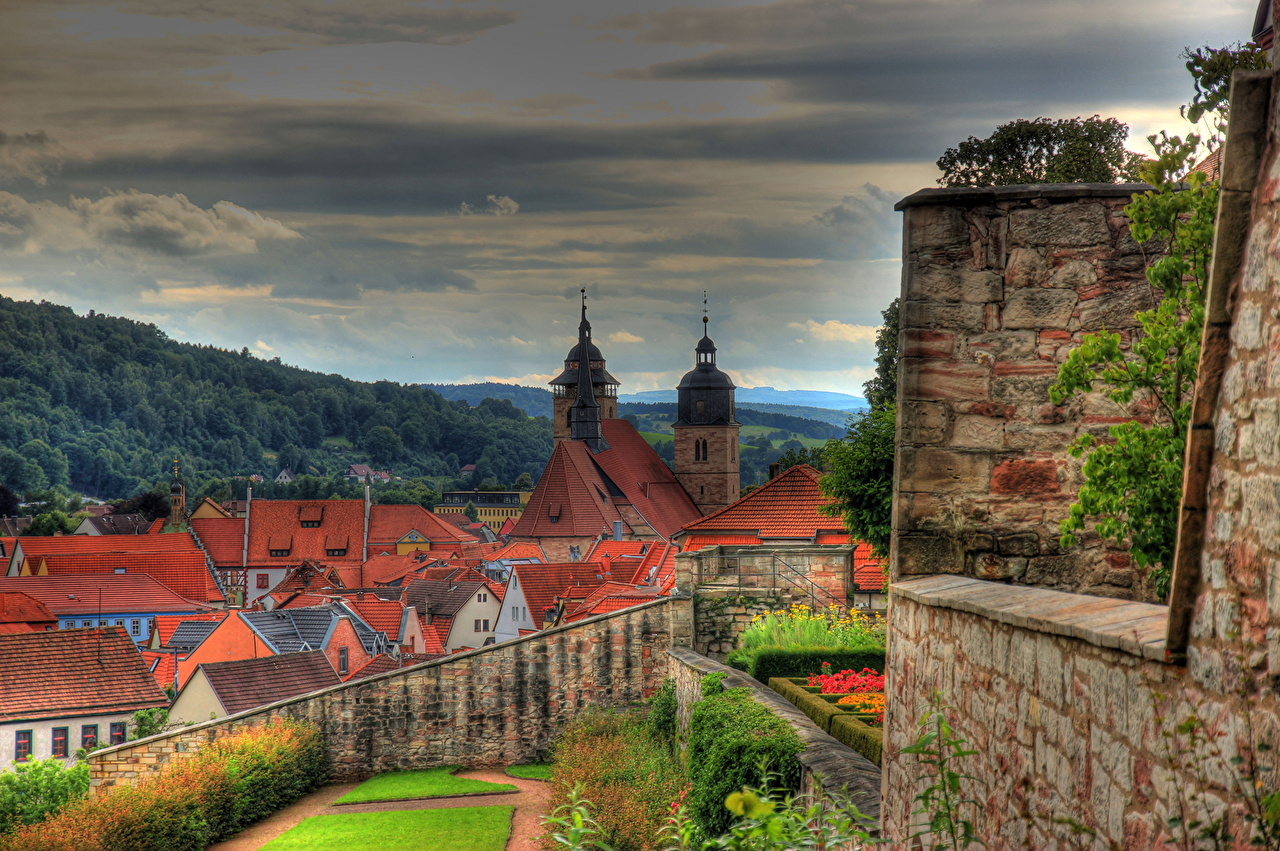 Pictures Germany Thuringia Schmalkalden HDR Cities Building HDRI Houses
