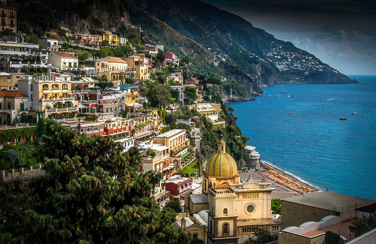 Desktop Wallpapers Cities Positano Italy Amalfi Coast Houses Building