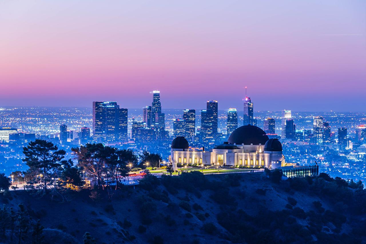 壁紙 アメリカ合衆国 住宅 夕 Griffith Observatory カリフォルニア州 ロサンゼルス メガロポリス 光線 都市 ダウンロード 写真