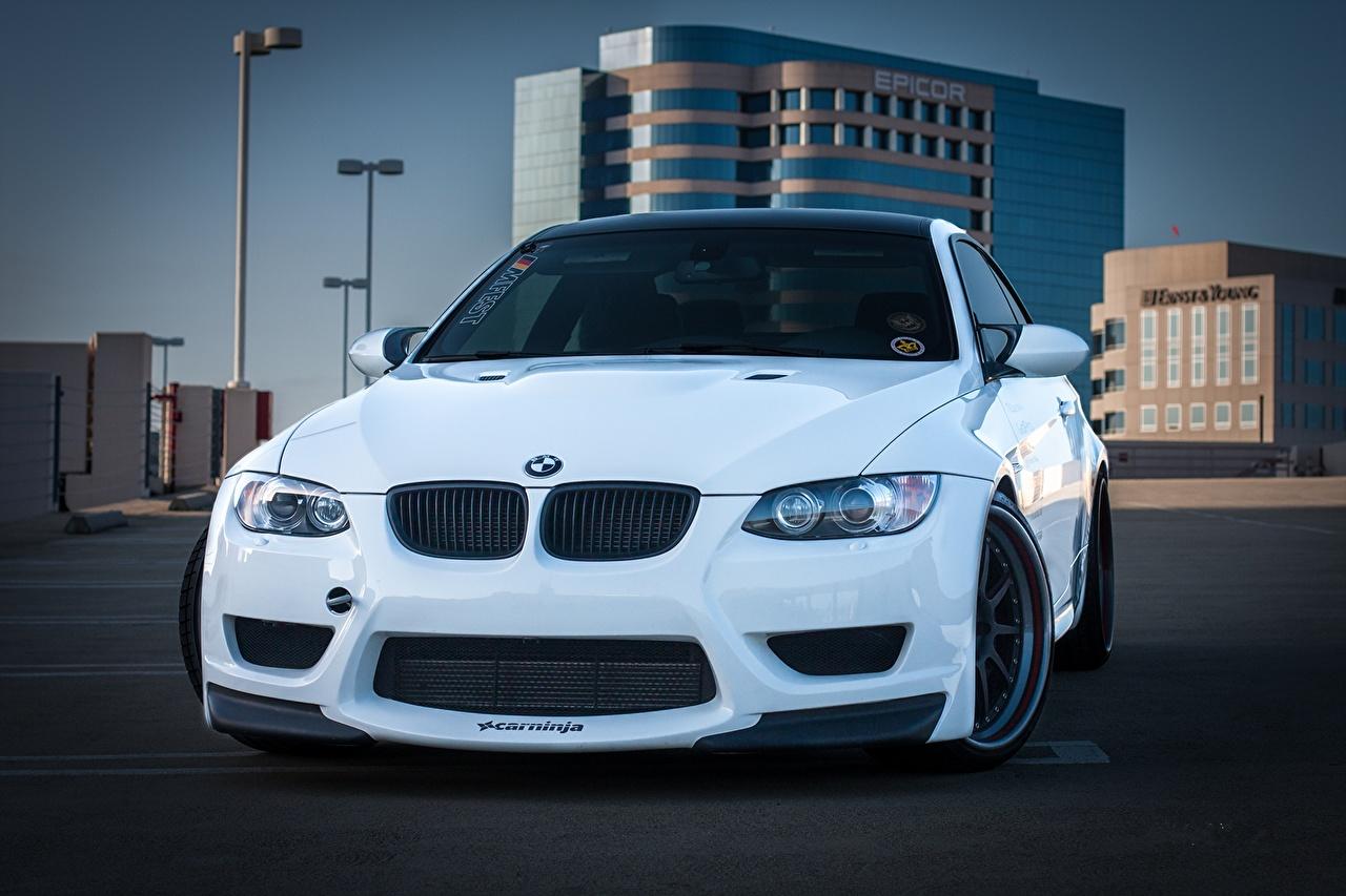 Photo BMW m3 e92 White Cars Front auto automobile