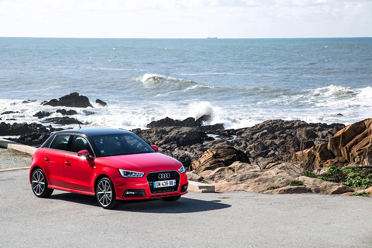 Desktop Wallpapers Audi TFSI Sportback 2014 S line Red Cars auto automobile