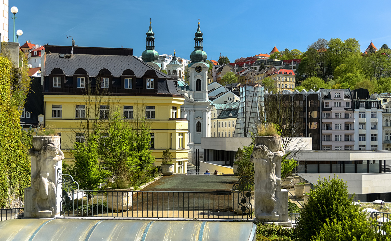 Image Czech Republic Karlovy Vary Fence Cities Building Sculptures Houses