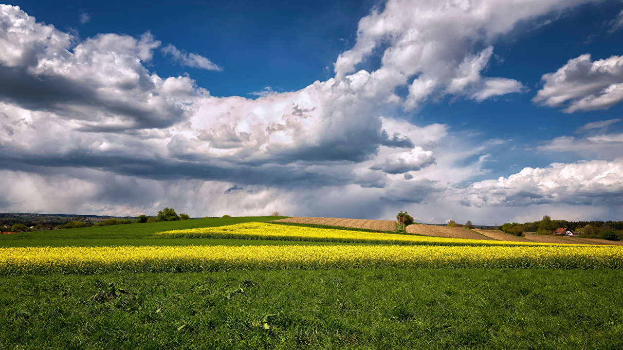 Wallpaper Bavaria Germany Nature Fields landscape photography Clouds Scenery
