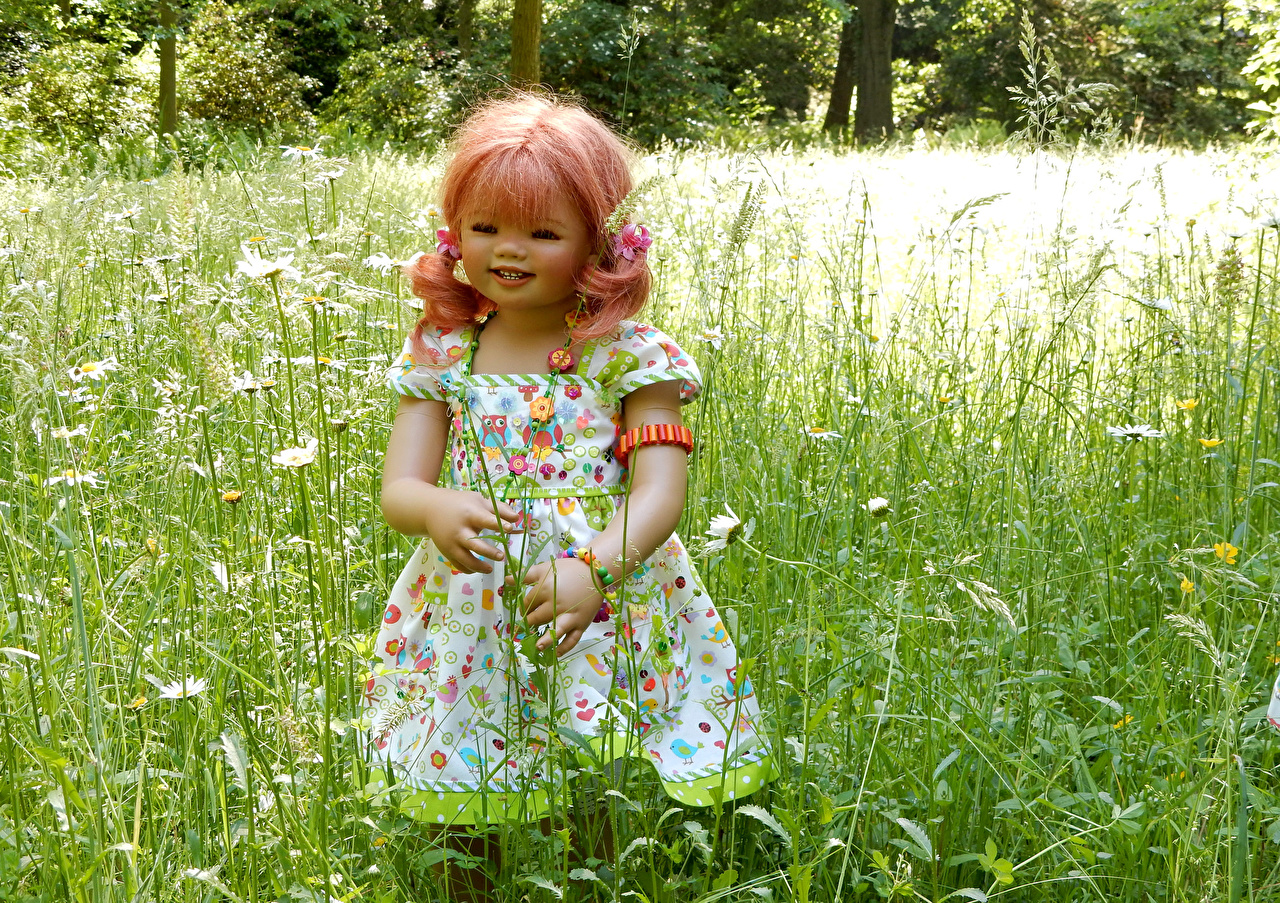 Image Little girls Germany Doll Grugapark Essen Nature Parks Grass gown park Dress frock