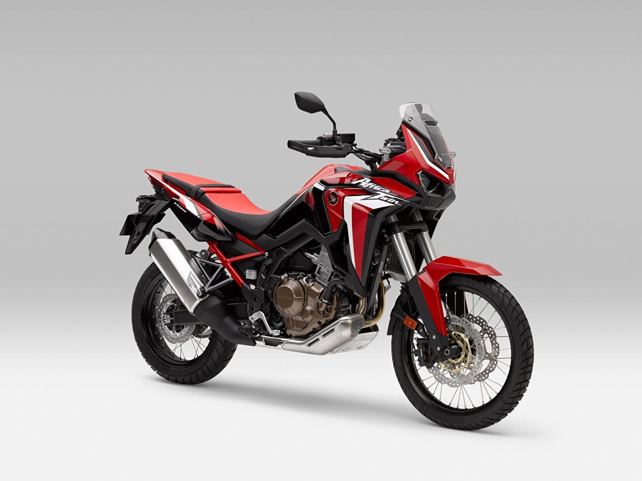 Picture Honda - Motorcycles CRF 1000 D AFRICA TWIN, 2020 Red motorcycle Gray background Motorcycles