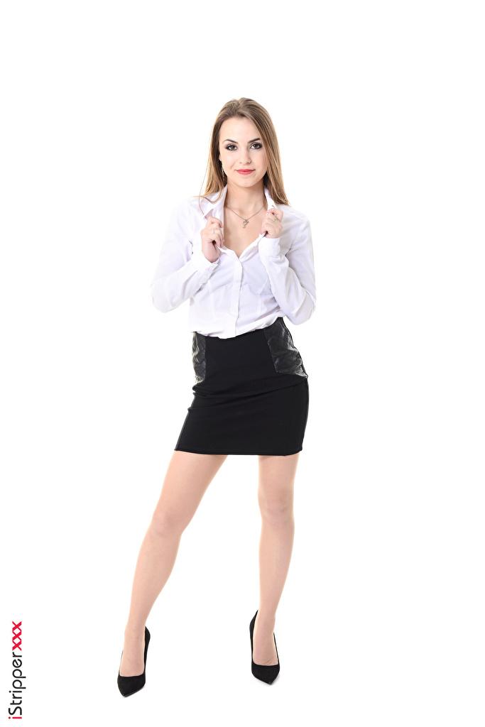 Fotos von Randy Ayn Rock Dunkelbraun Sekretärinen iStripper junge Frauen Bein Hand Weißer hintergrund High Heels  für Handy Mädchens junge frau Stöckelschuh