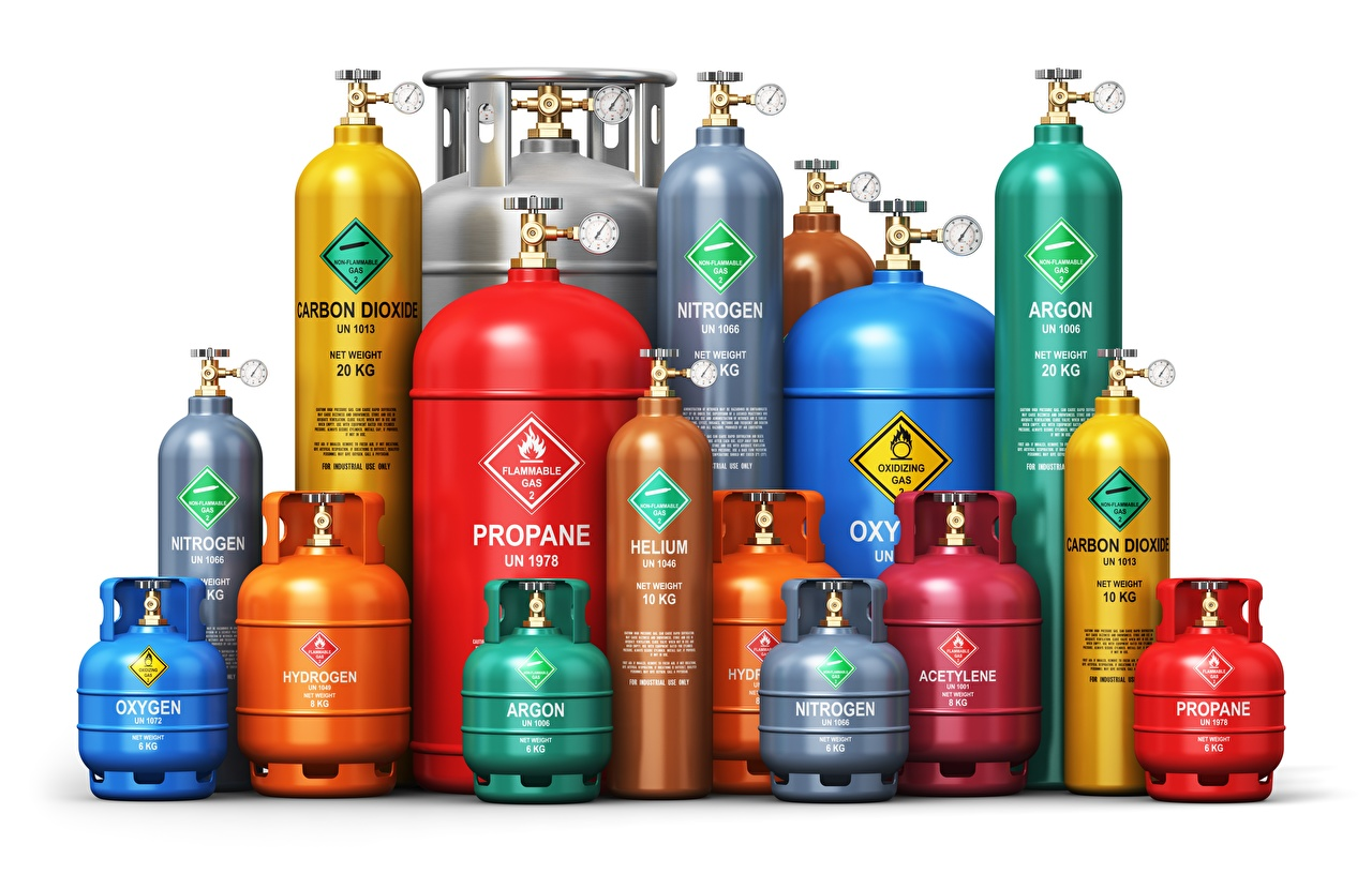 Fotos von different gases, gas cylinder Mehrfarbige 3D-Grafik Weißer hintergrund Bunte