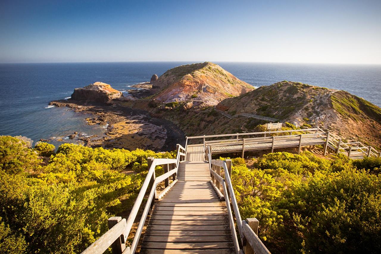 Bilder von Australien Cape Schanck Boardwalk Natur Treppe Hügel Küste Stiege Treppen