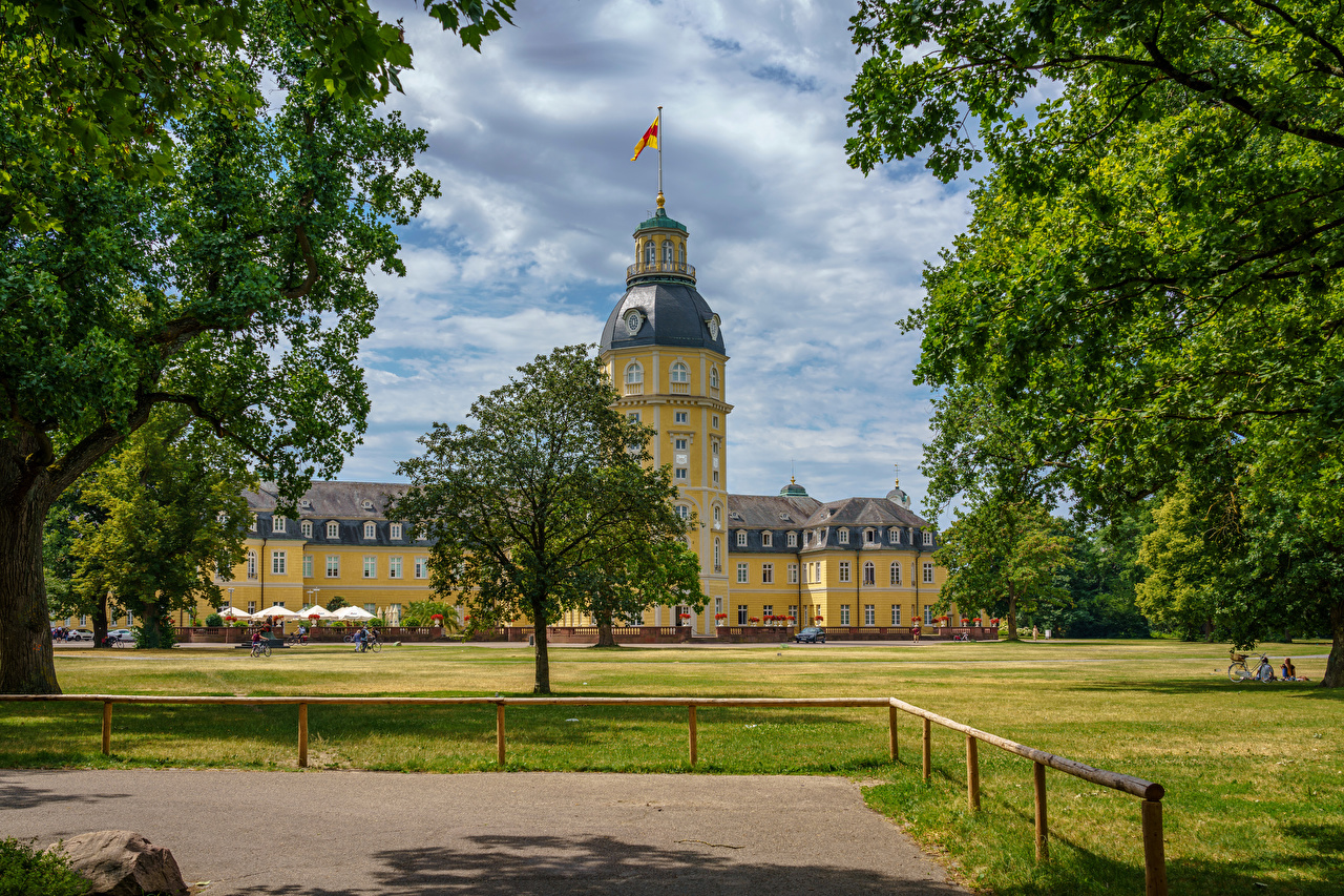 Picture Palace Germany Schloss Karlsruhe Lawn Trees Cities