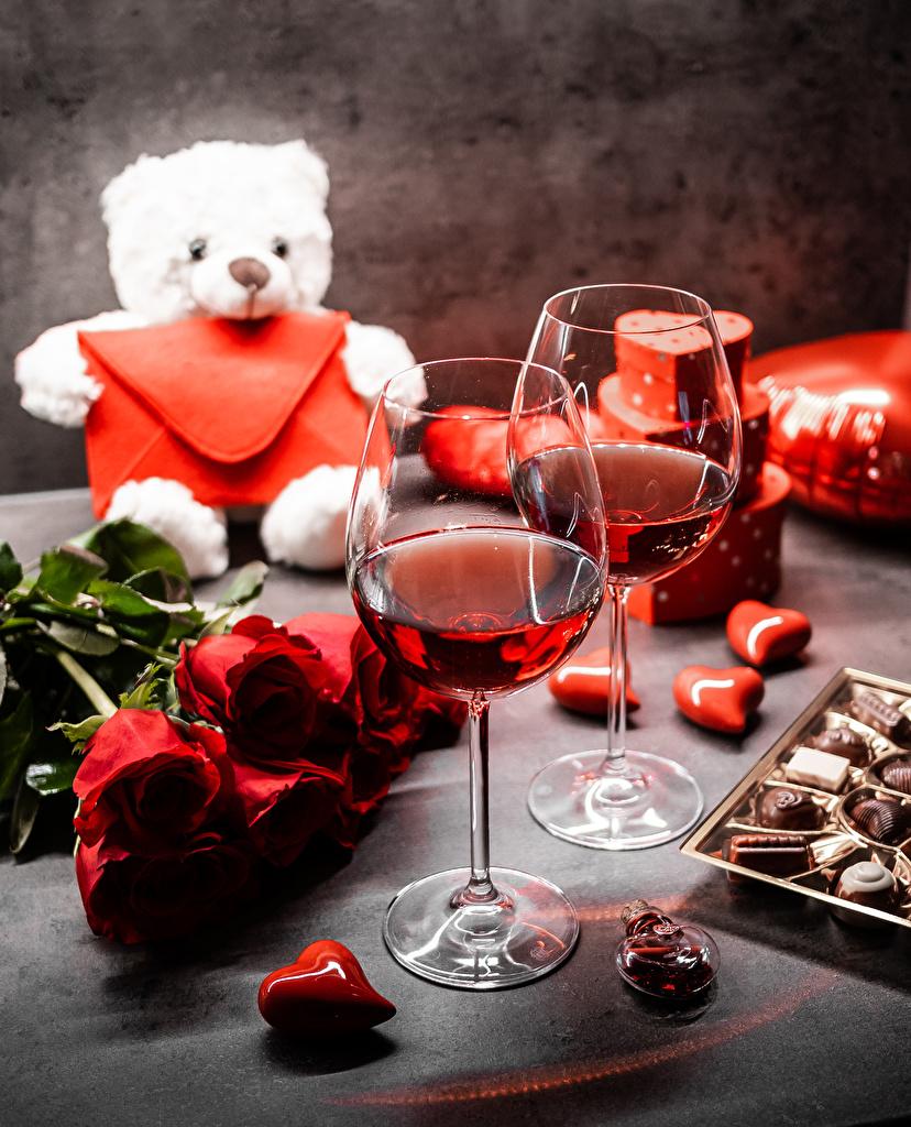 Fotos von Valentinstag Herz Sträuße Wein Rosen Bonbon Blüte Teddybär Weinglas  für Handy Blumensträuße Rose Teddy Blumen Knuddelbär