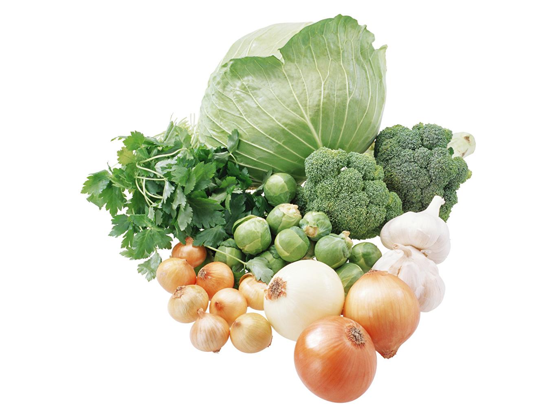 Desktop Hintergrundbilder Lebensmittel Kohl Zwiebel Knoblauch Gemüse Weißer hintergrund Brokkoli das Essen