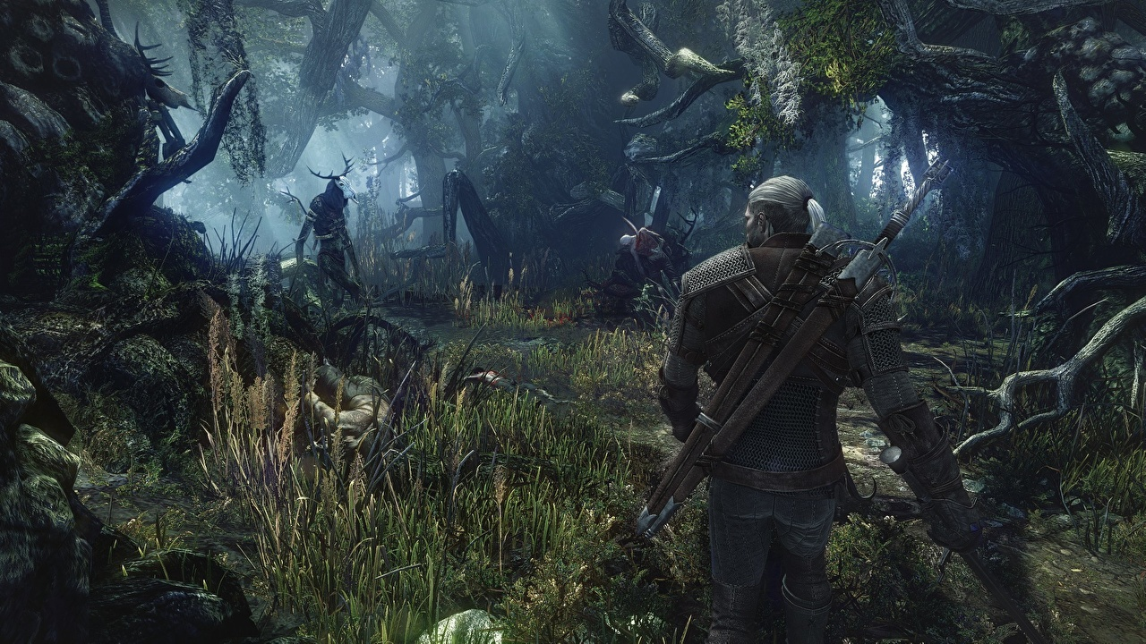 Photos The Witcher The Witcher 3: Wild Hunt Armor Swords Geralt of Rivia Warriors 3D Graphics forest vdeo game Grass armour warrior Games Forests