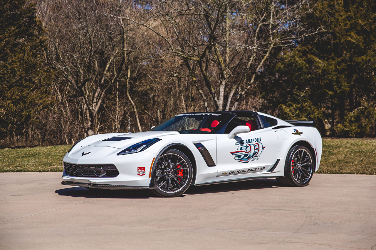 Desktop Wallpapers Tuning Chevrolet 2015 Corvette Z06 Indy 500 Pace Car White auto Cars automobile