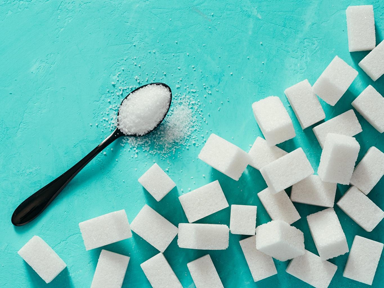 Desktop Hintergrundbilder Würfel Zucker Löffel Lebensmittel das Essen