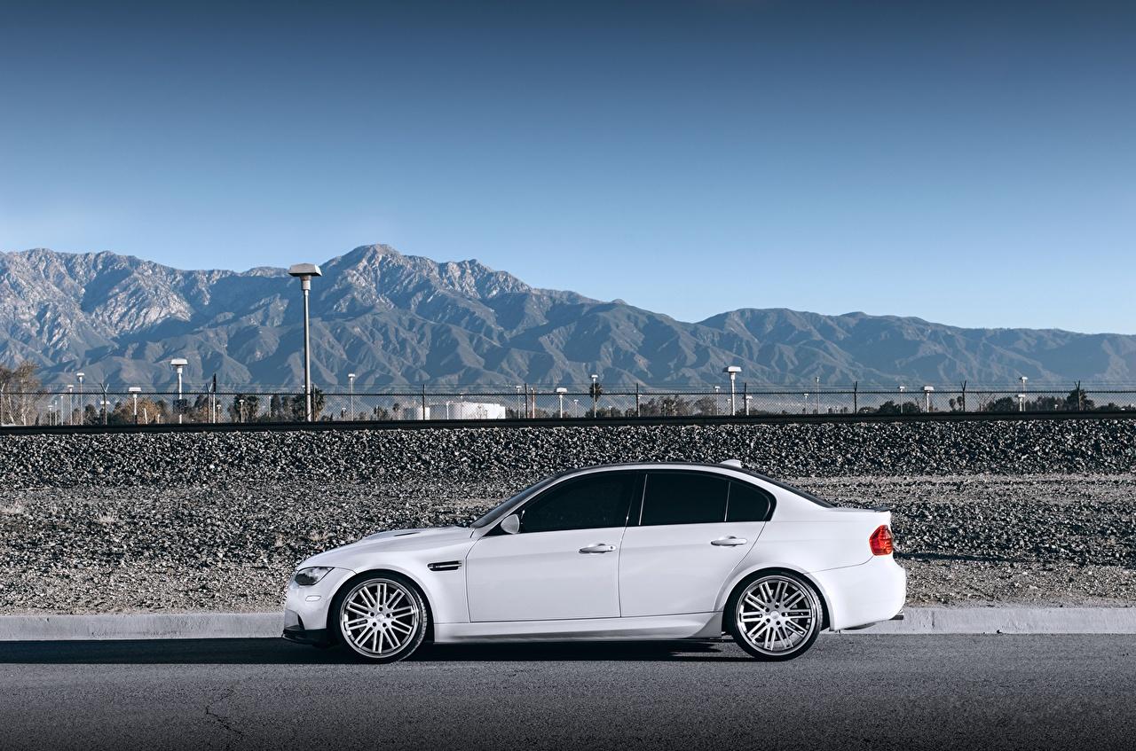 Desktop Wallpapers BMW m3 e90 White mountain Side Cars Mountains auto automobile