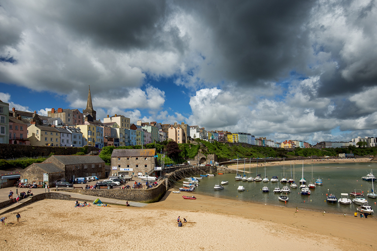 Pictures Wales United Kingdom Tenby, Harbor Boats Houses Clouds Cities Building