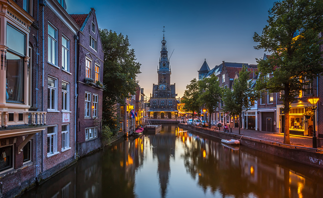 Picture Netherlands Alkmaar Canal Cities Building Houses