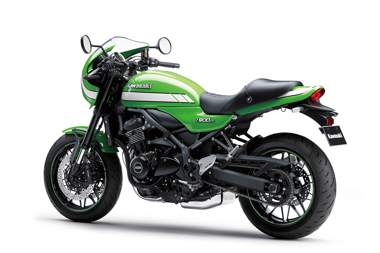 Picture Kawasaki Z900RS Cafe, 2018 Green Motorcycles White background motorcycle