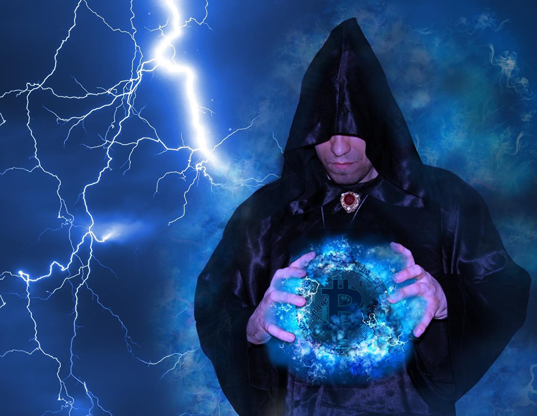 Desktop Wallpapers Magic Bitcoin magician Men Lightning Fantasy Hood headgear sorcery Mage wizard Man lightning bolts hooded