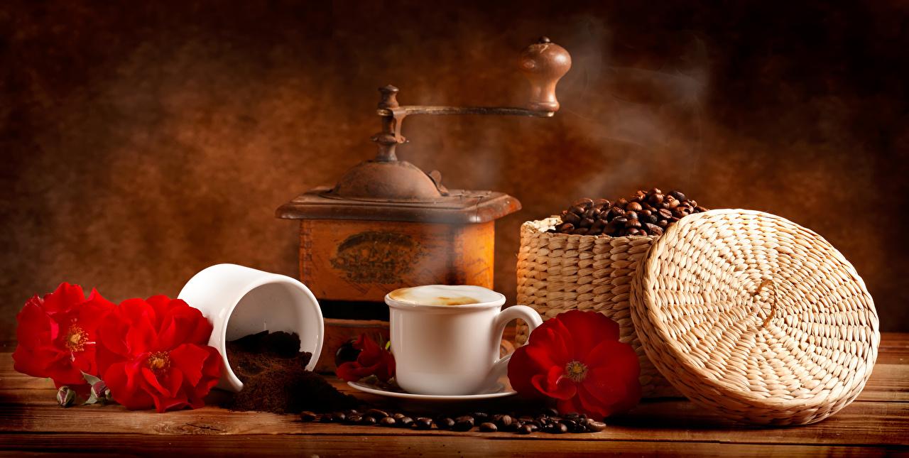 Fotos von das Essen Rose Kaffee Tasse Getreide Weidenkorb Kaffeemühle Stillleben Lebensmittel Rosen