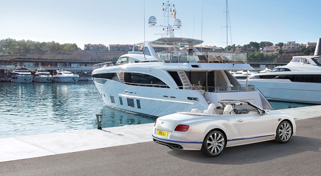 Picture Bentley Continental GT, Convertible Galene Edition, 2017 White auto Pier Yacht Cars Berth Marinas automobile