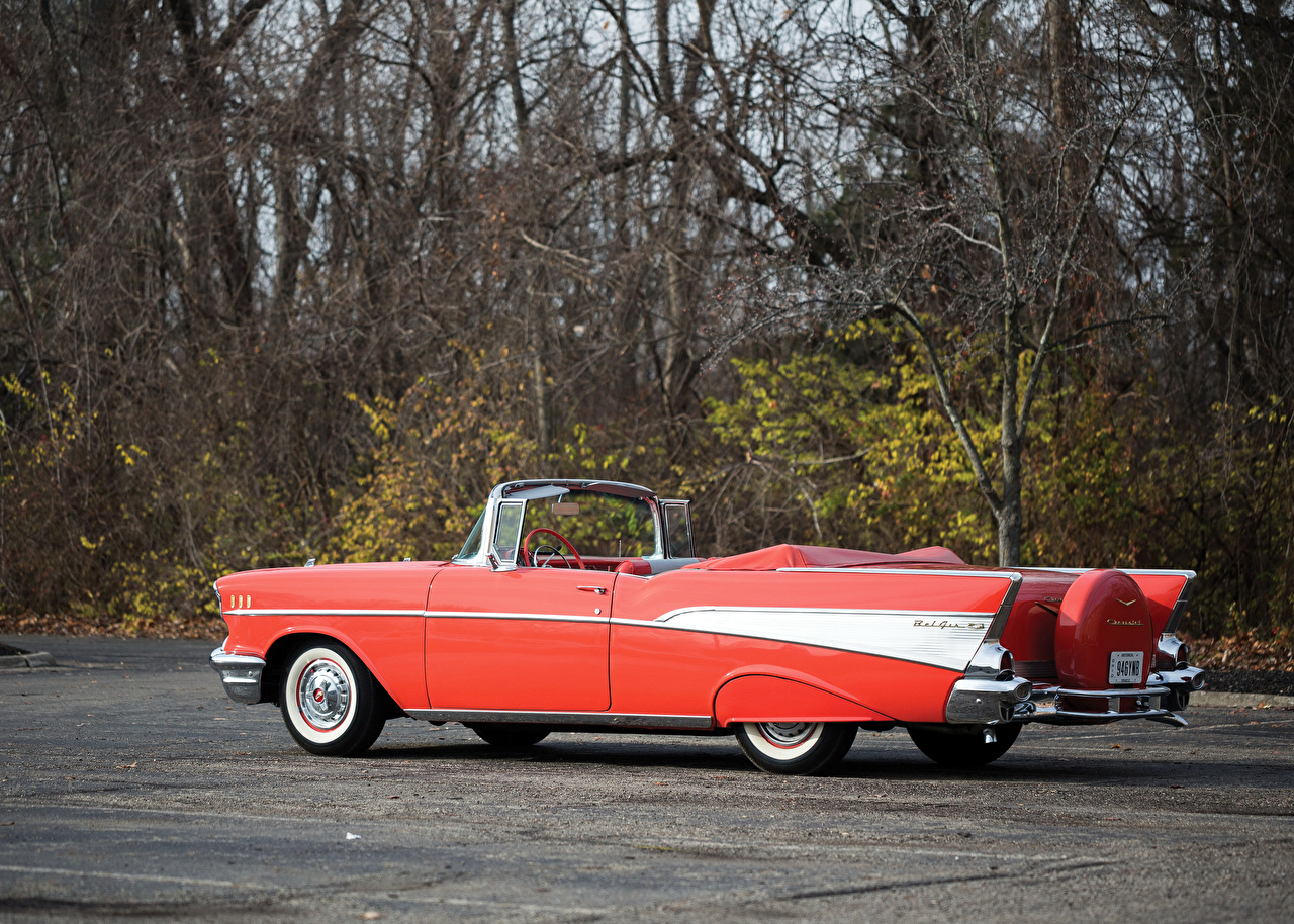 Pictures Chevrolet 1957 Bel Air Convertible Cabriolet Retro Pink