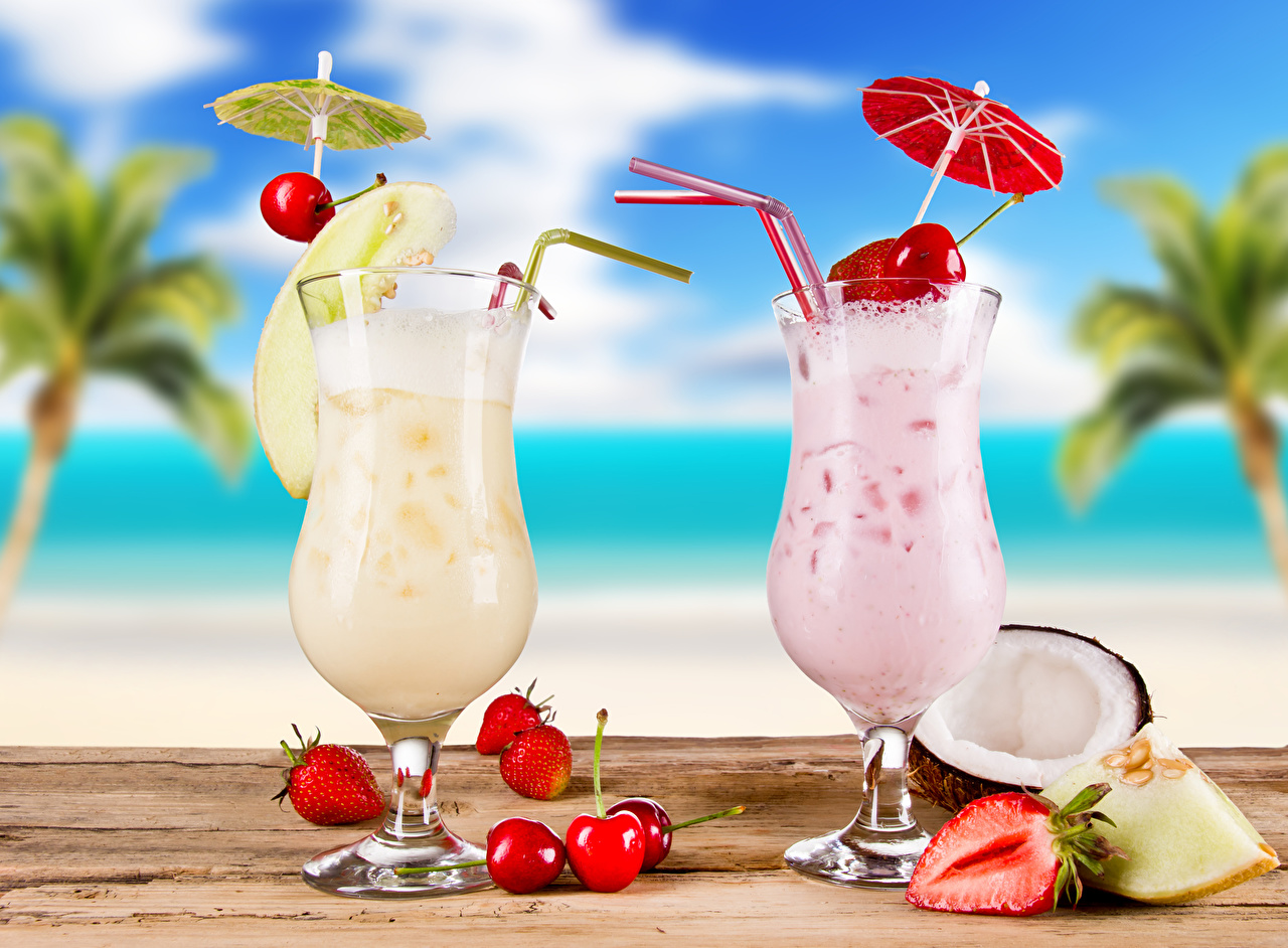 Pictures 2 Cherry Strawberry Food Fruit Umbrella Stemware Mixed drink Two parasol Cocktail