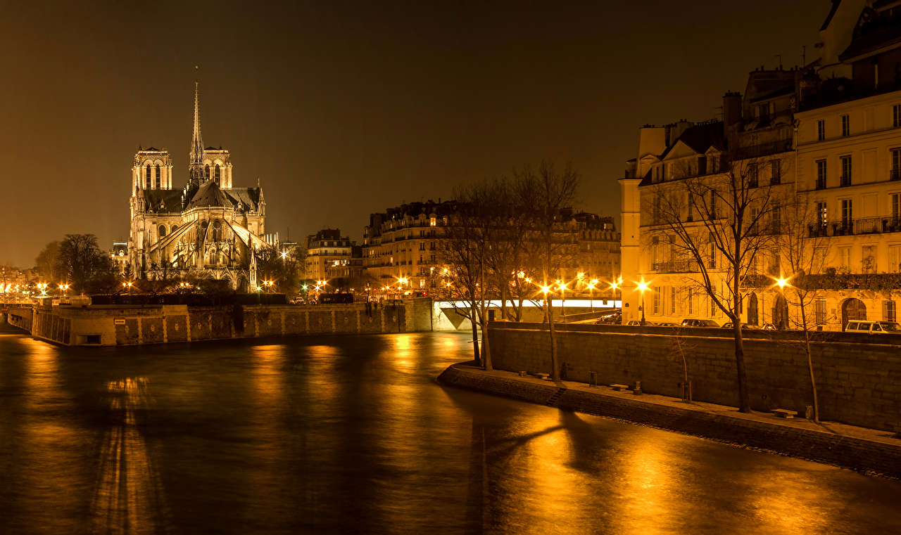 Picture Paris France Canal river night time Street lights Cities Building Night Rivers Houses