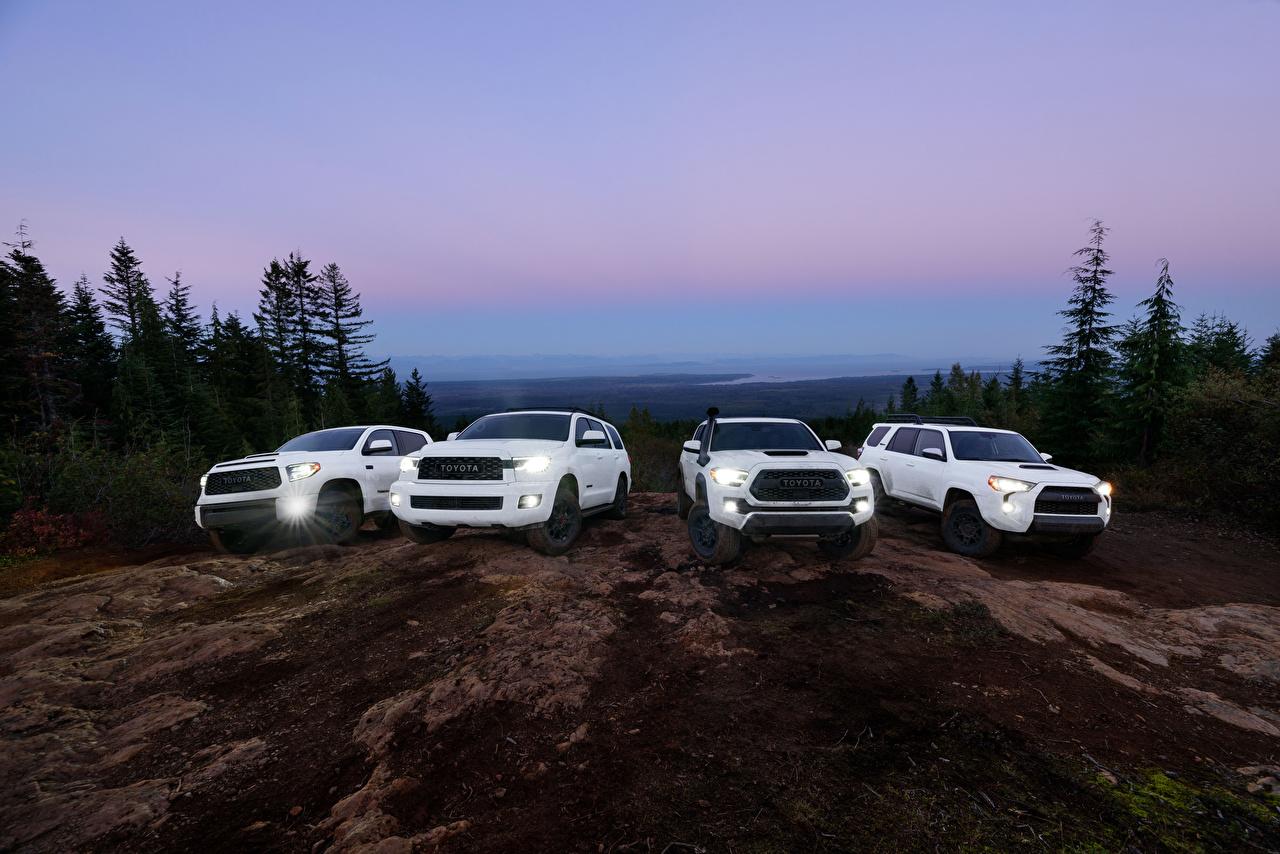 Picture Toyota SUV 4Runner, Tacoma, Tundra, Sequoia White Cars Sport utility vehicle auto automobile