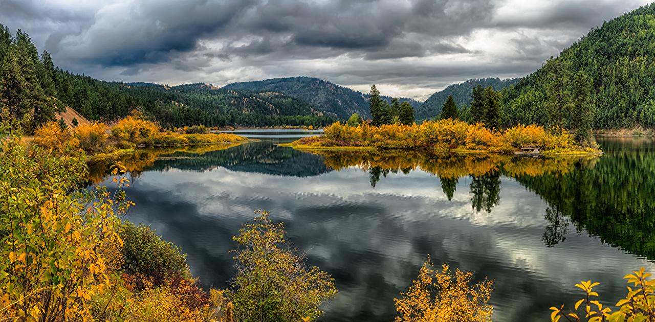 、アメリカ合衆国、山、秋、湖、森林、Lake Alva Montana、、自然