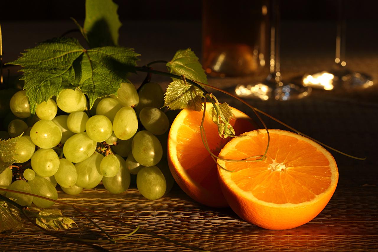 Pictures Orange fruit Grapes Food