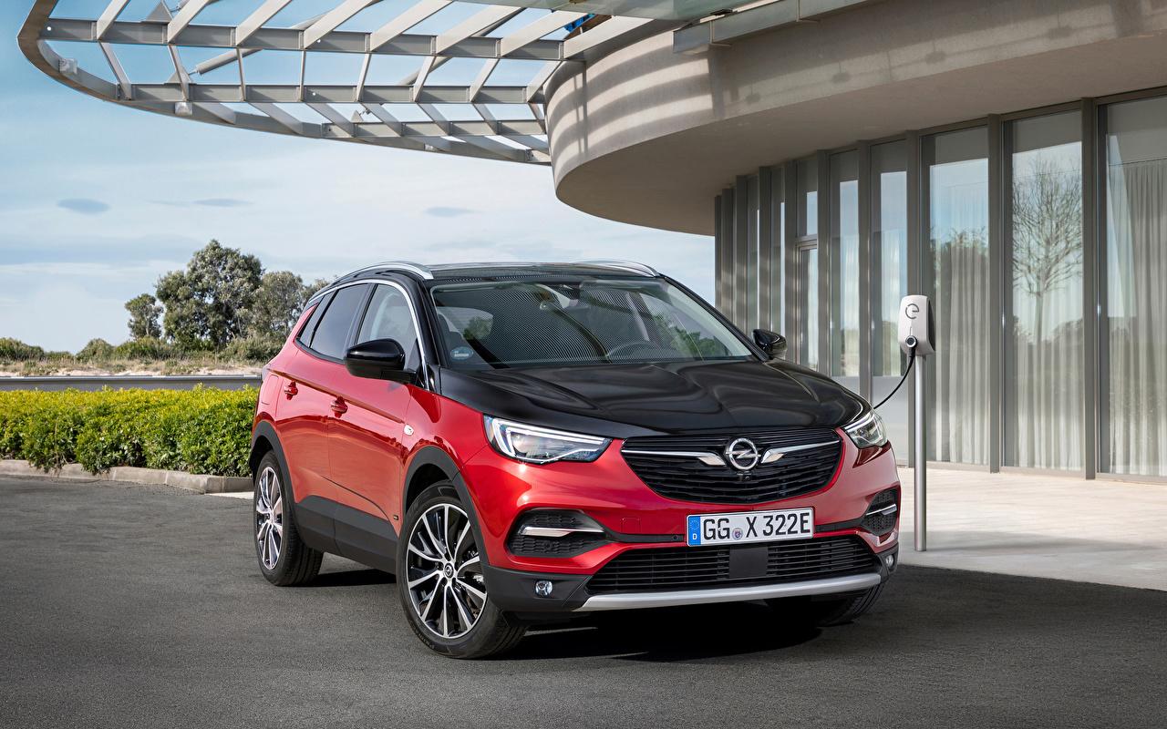 Bilder Opel 2019-20 Grandland X Hybrid4 Hybrid Autos Rot Autos Metallisch auto automobil