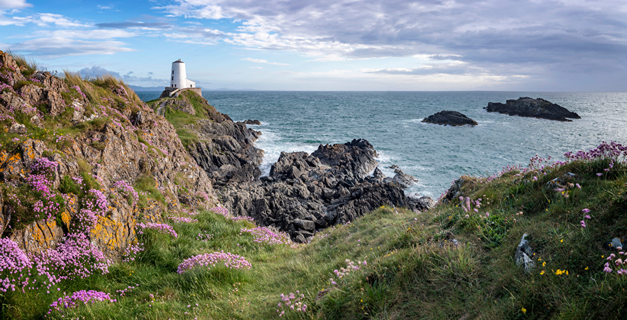 Photos Wales United Kingdom Anglesey Sea Cliff Nature Lighthouses Coast Grass Crag Rock