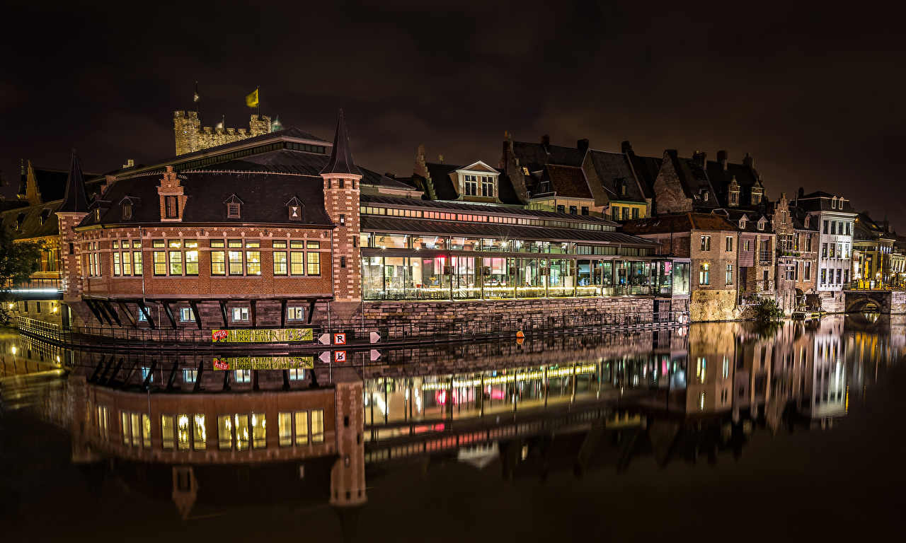 Pictures Ghent Belgium Canal night time Cities Building Night Houses