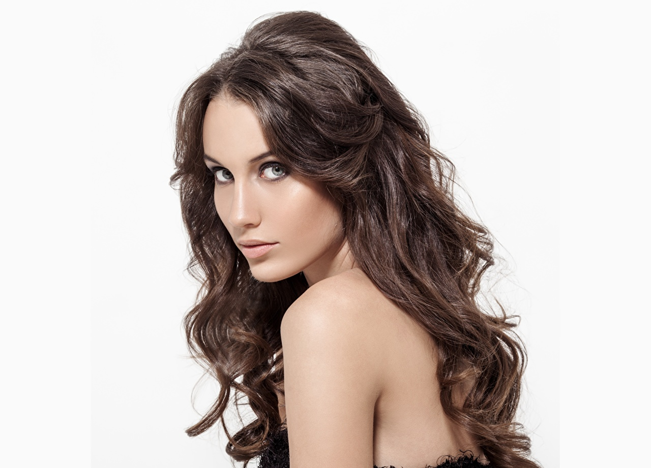 Pictures Brown haired Model Makeup Beautiful Hair Girls Staring Modelling female young woman Glance