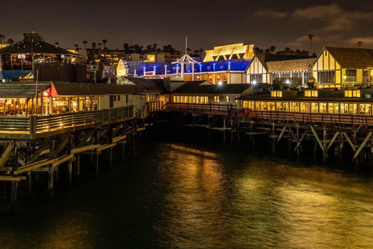 Image California USA Redondo Beach Cafe Bay Marinas night time Houses Cities Pier Berth Night Building