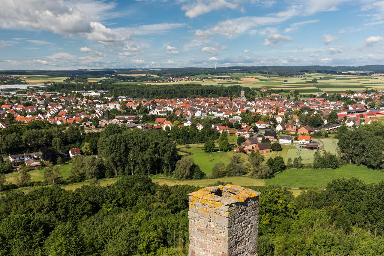 Foto Deutschland Volkmarsen Natur Von oben Wolke Gebäude Haus