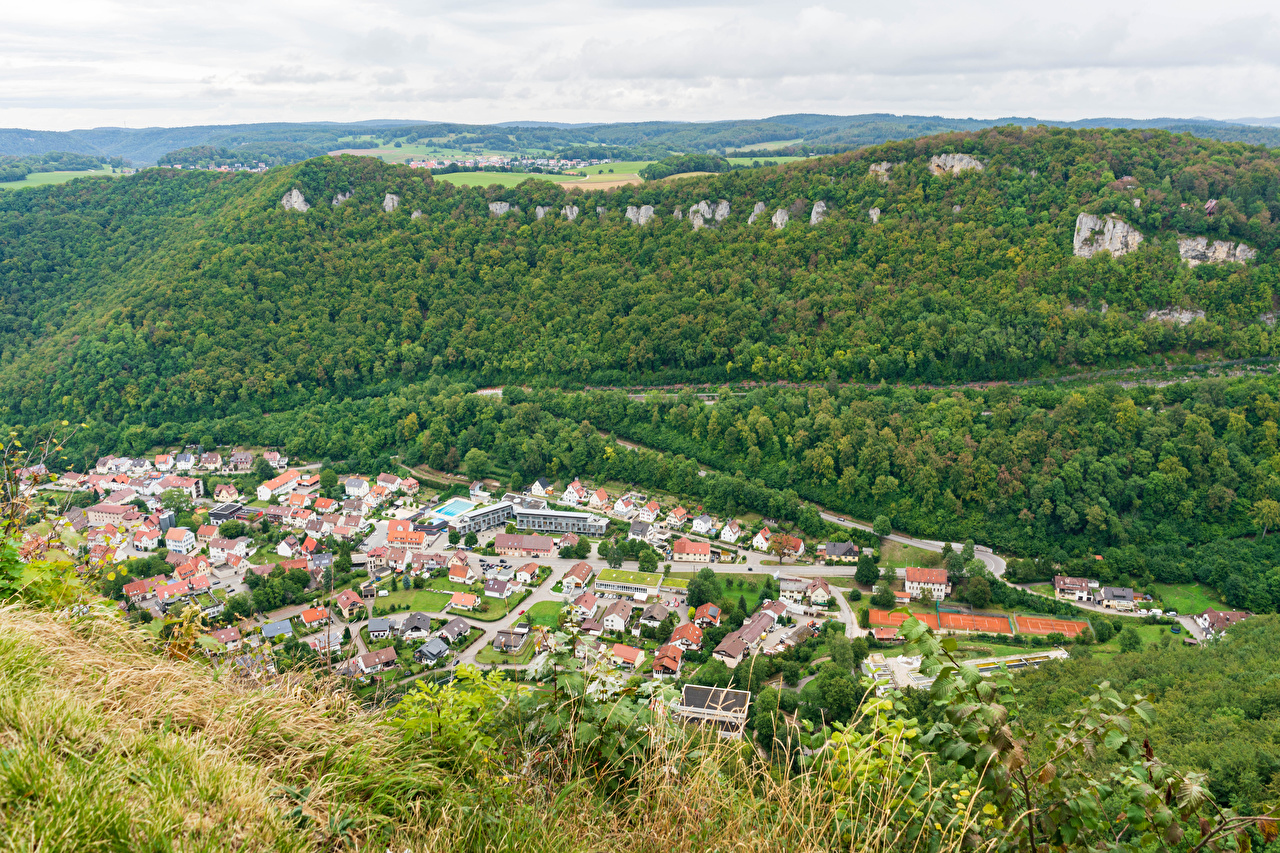 Picture Germany Honau Forests From above Cities Building Small towns forest Houses